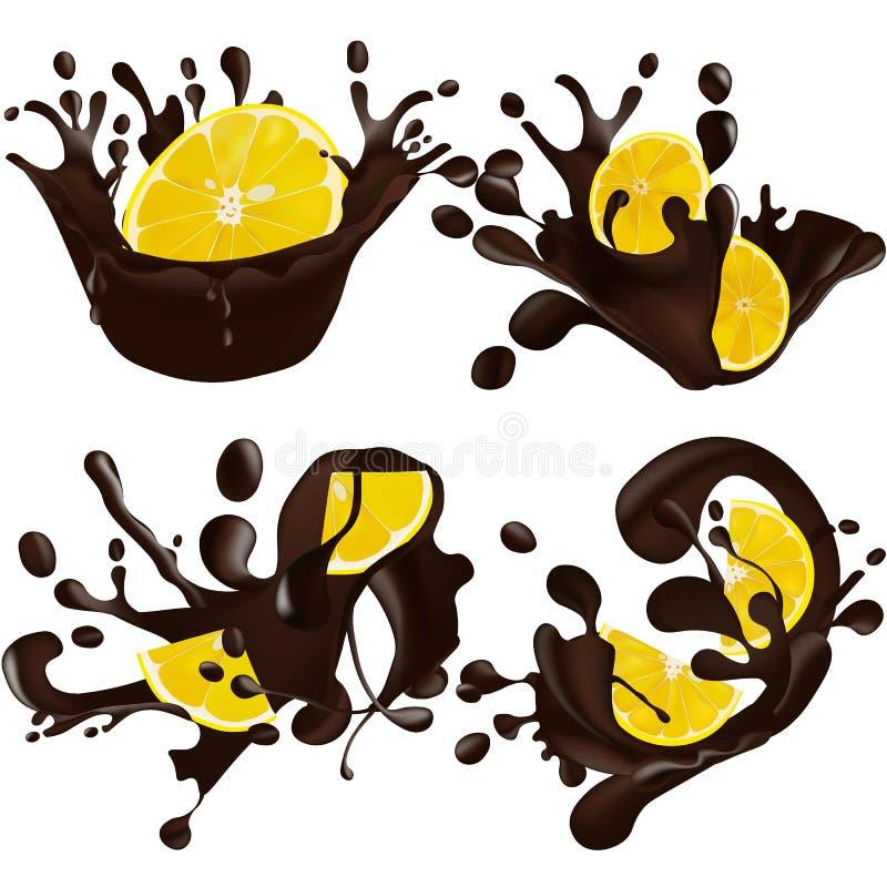 Fije del chocolate realista salpica junto el limón aislado en un fondo blanco Ilustración del vector Limón adentro stock de ilustración