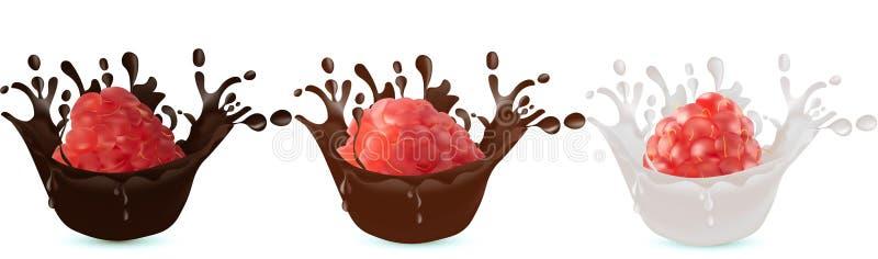 Fije del chocolate realista y la leche salpica aislado en el fondo blanco Ilustración del vector Frambuesa en chocolate stock de ilustración