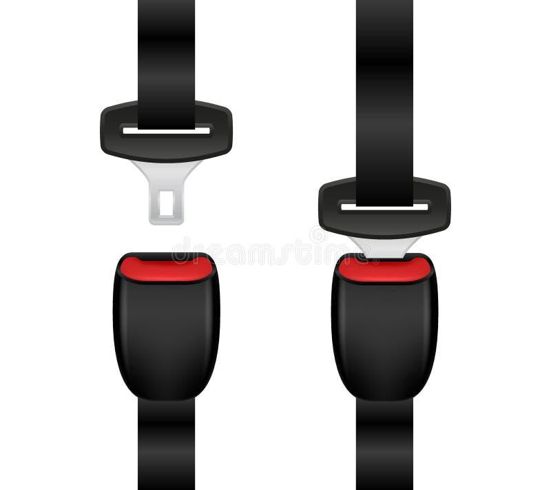 Fije del cinturón de seguridad bloqueado y desbloqueado realista Cinturones de seguridad abiertos y cerrados del automóvil libre illustration
