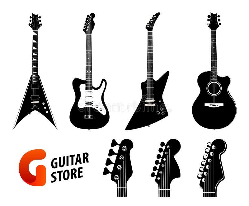 Fije del color negro de las siluetas de la guitarra aislado en blanco - las guitarras acústicas eléctricas y y logotipo para la t ilustración del vector