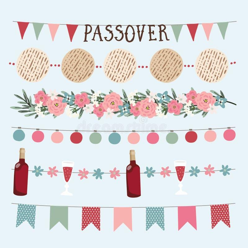 Fije del día de fiesta judío exhausto Pesach, guirnaldas de la mano de la pascua judía con las luces, banderas del empavesado del ilustración del vector