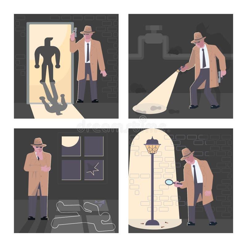 Fije del detective de policía And Private Investigator stock de ilustración