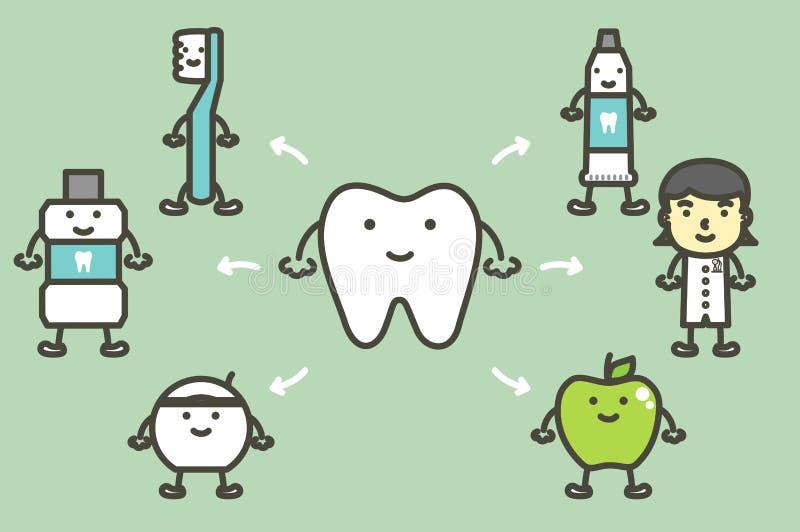 Fije del diente y los mejores amigos, cuidado dental y buena higiene para el concepto sano de los dientes stock de ilustración