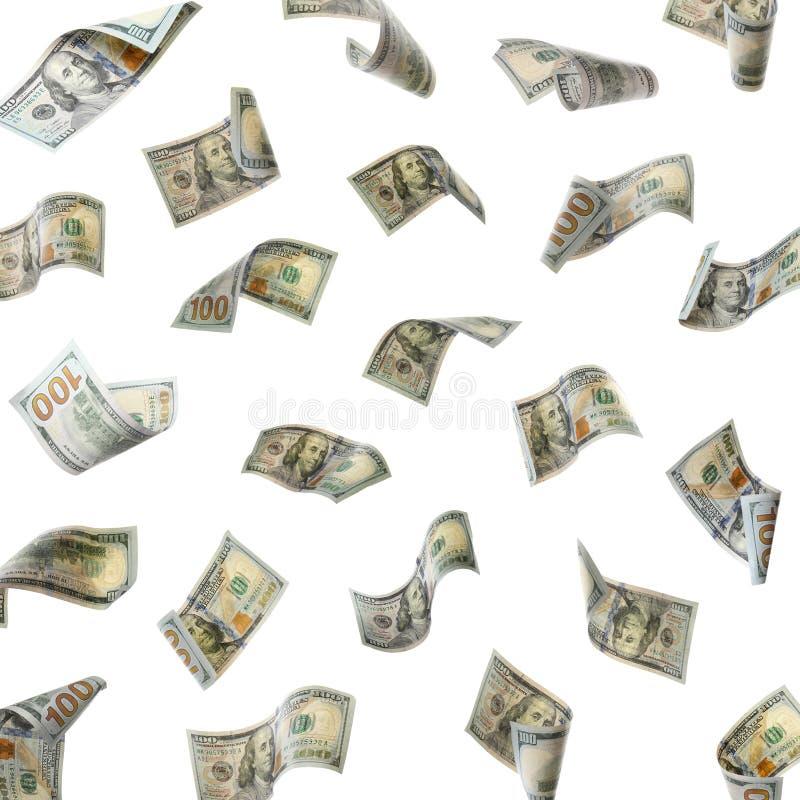 Fije del dinero que cae en blanco foto de archivo