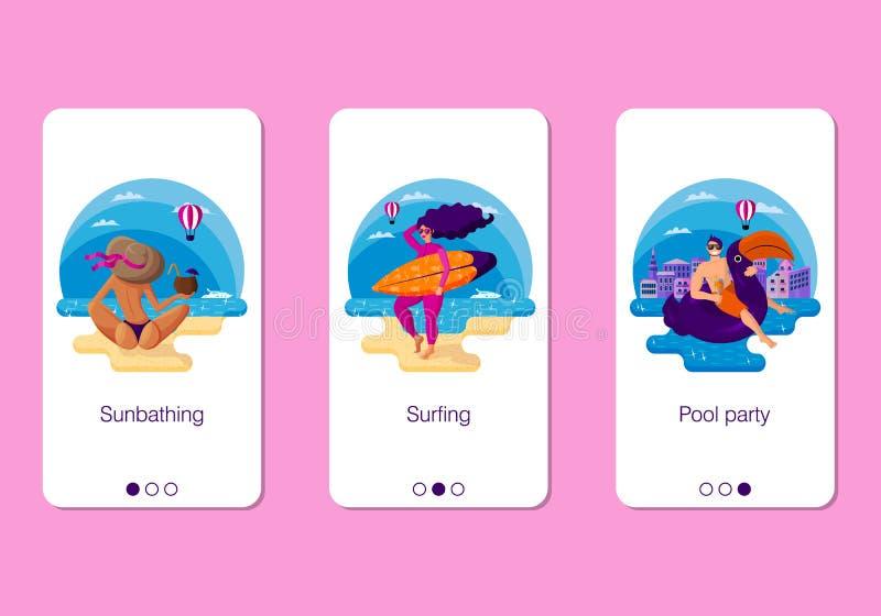 Fije del diseño móvil de la página del app, sistema de la pantalla en tema activo de las vacaciones de verano en el mar stock de ilustración