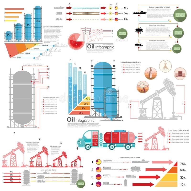 Fije del diseño plano de entrega de la producción del infographics de la torre de perforación de aceite y del aparejo de gas libre illustration