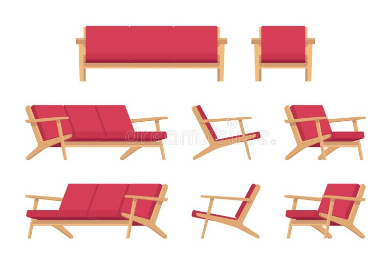 Fije del diván y de la butaca rojos retros ilustración del vector