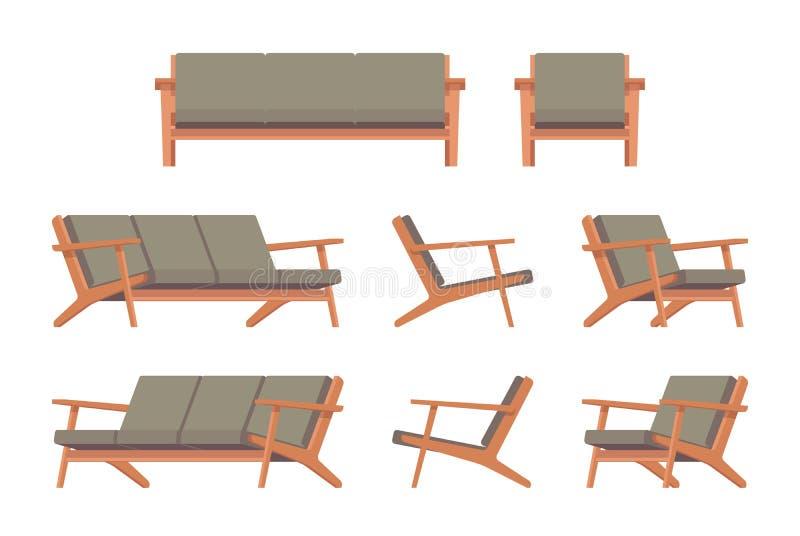 Fije del diván y de la butaca verdes retros stock de ilustración