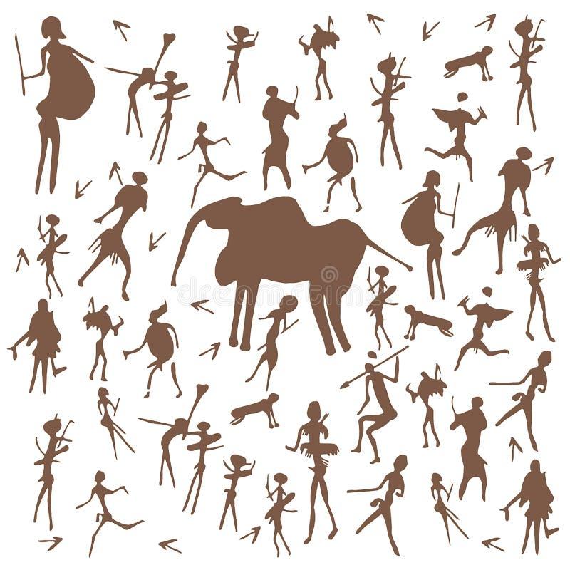 Fije del ejemplo antiguo del arte de los dibujos de la roca de la Edad de Piedra del vector aislado en el fondo blanco stock de ilustración