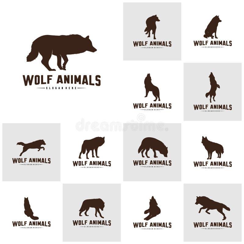 Fije del ejemplo de Wolf Abstract Logo Design Vector Wolf Logo Template Estilo plano simple S?mbolo del icono ilustración del vector