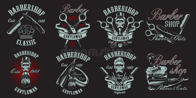 Fije del ejemplo en el estilo del vintage para la barbería en el backround oscuro ilustración del vector