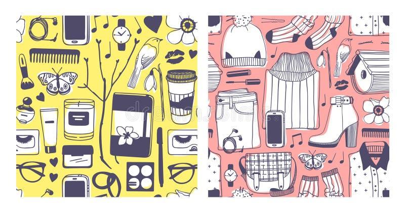 Fije del ejemplo exhausto de la moda de la mano Trabajo de arte creativo de la tinta Mirada real de la primavera del dibujo del v imagen de archivo