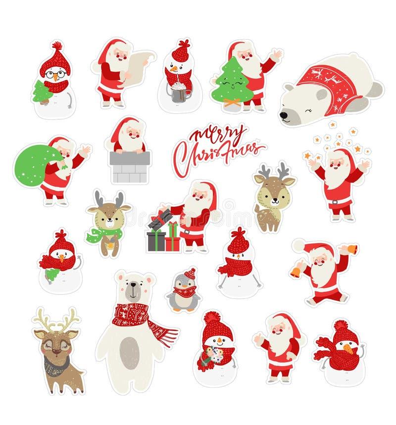 Fije del ejemplo lindo del personaje de dibujos animados para la Navidad y la celebración del Año Nuevo Animales del arbolado del ilustración del vector