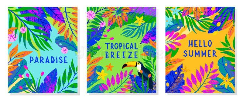 Fije del ejemplo del vector del verano con las hojas, las flores y el tucán tropicales brillantes foto de archivo