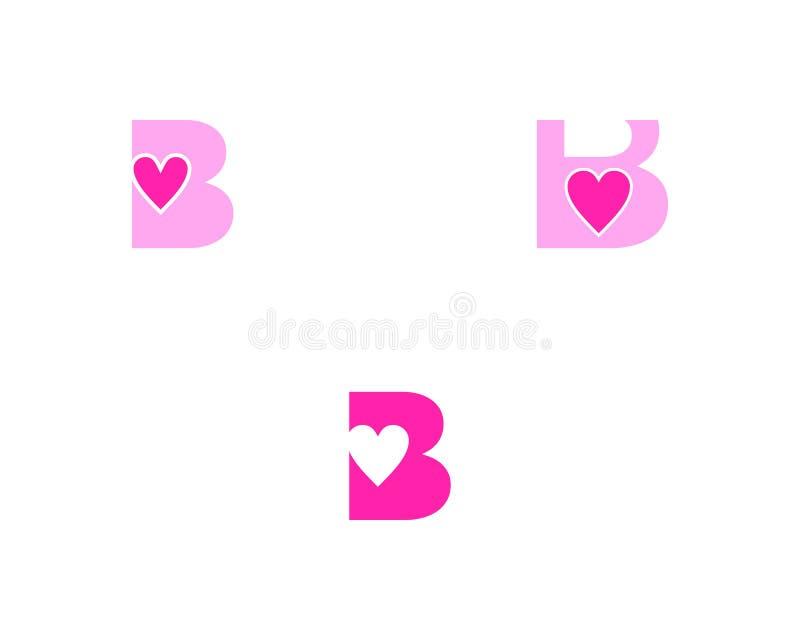 Fije del elemento de Logo Vector Graphic Branding Letter del diseño del amor de la letra inicial B stock de ilustración