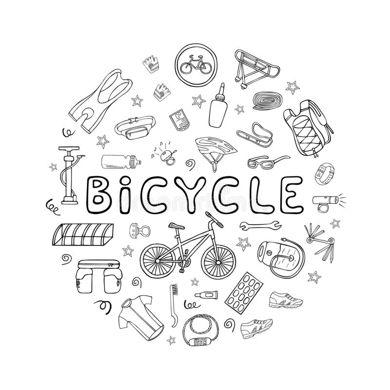 Fije del equipo de la bicicleta y la ropa garabatea iconos fotografía de archivo