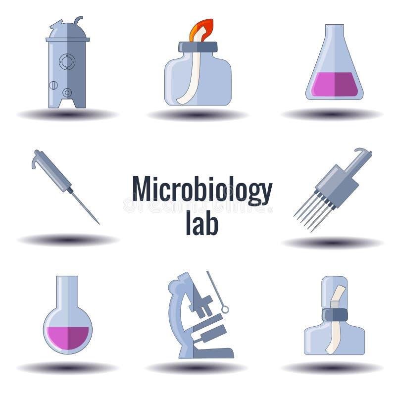 Fije del equipo de la microbiología stock de ilustración