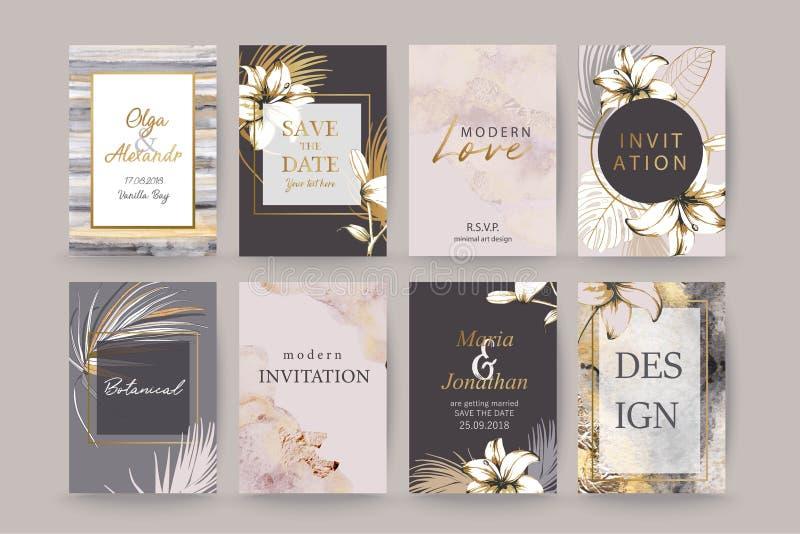 Fije del folleto, de cubiertas, de tarjetas con las hojas de palma exóticas, de lirios, de gris y de textura de la acuarela del  stock de ilustración