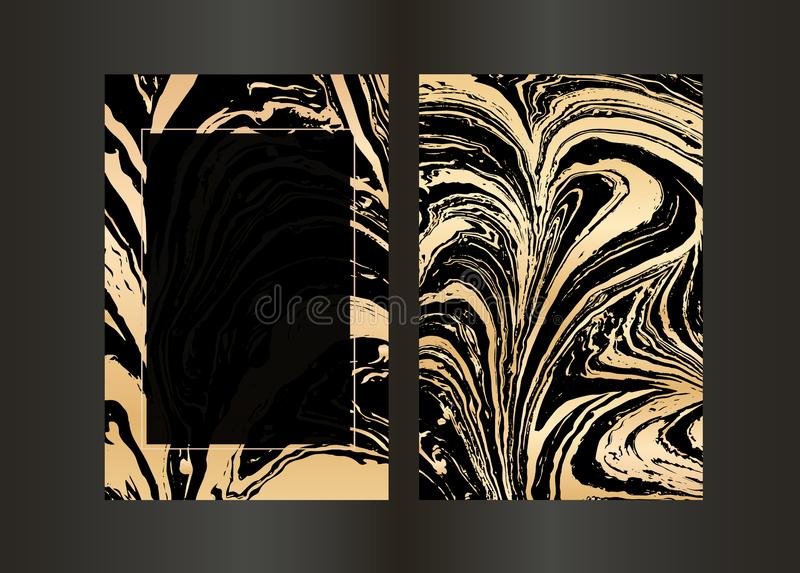 Fije del folleto negro del vector y del oro elegante, casandose la tarjeta de la invitación, fondo, cubierta Plantilla del diseño libre illustration