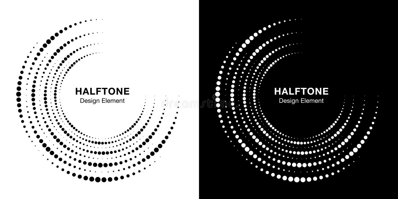 Fije del fondo incompleto de semitono del logotipo de los puntos del marco del círculo Textura de semitono de los puntos del círc libre illustration