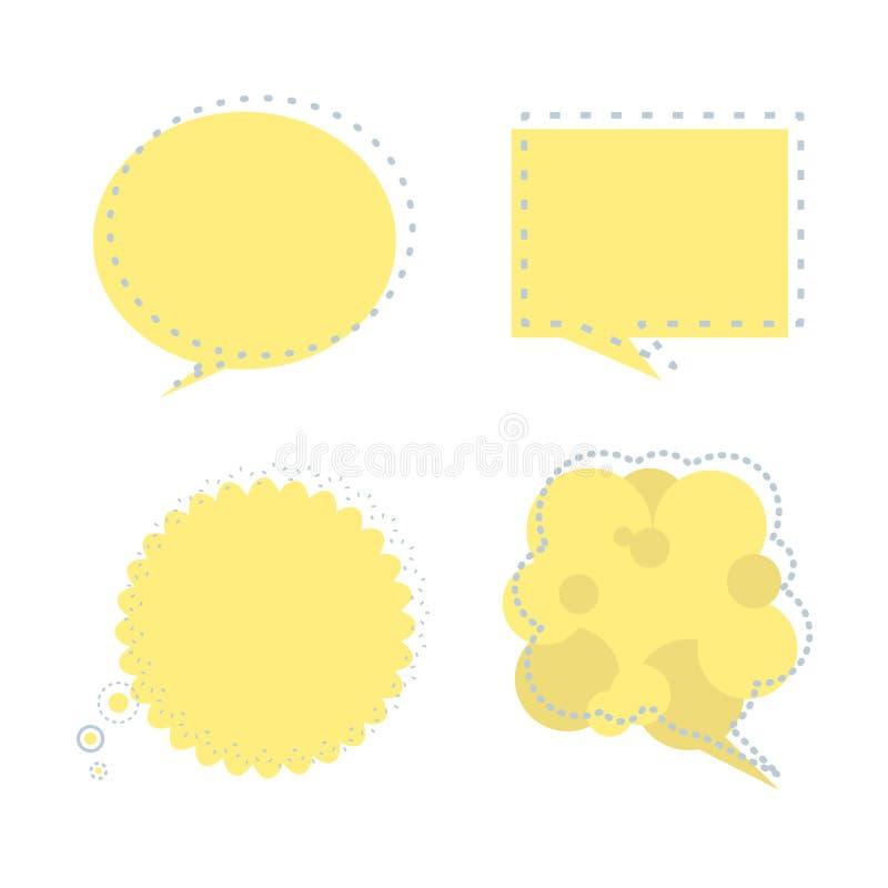 Fije del globo de la burbuja del discurso piensan, hablan, hablan, plantilla, plano del arte, diseño, vector, marco de la bandera libre illustration