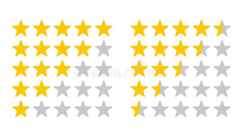 Fije del grado de la estrella Estrellas amarillas y grises aisladas del vector ilustración del vector