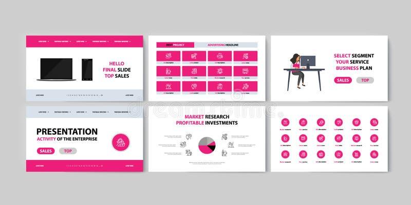 Fije del infographics de los folletos para comercializar los bienes y servicios de la promoción en mercado foto de archivo