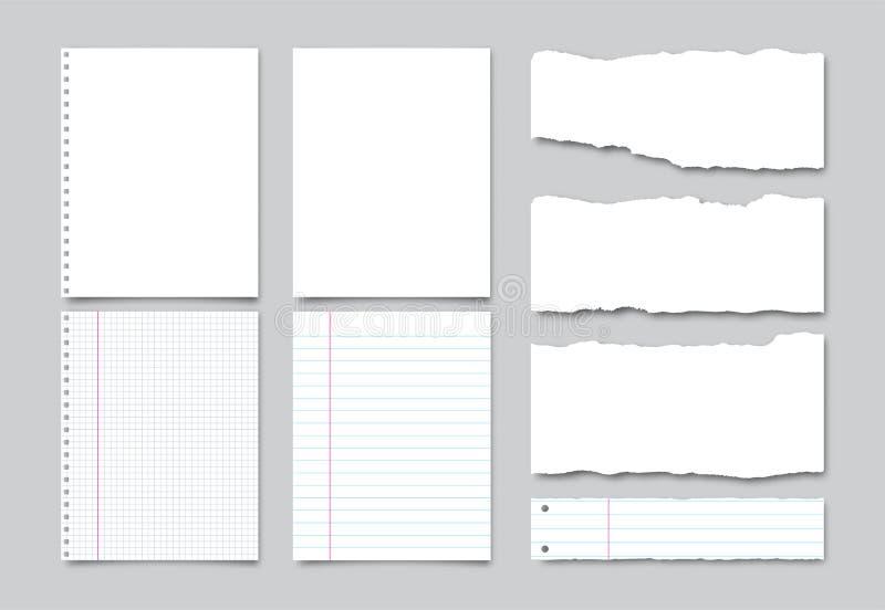Fije del Libro Blanco realista del vector, alineó las páginas del cuaderno y los pedazos de papel rasgado con la sombra ilustración del vector