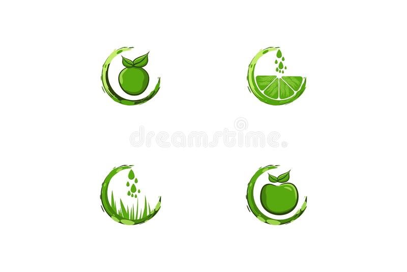 Fije del logotipo del jugo del descenso del agua diseña la inspiración aislado en el fondo blanco ilustración del vector