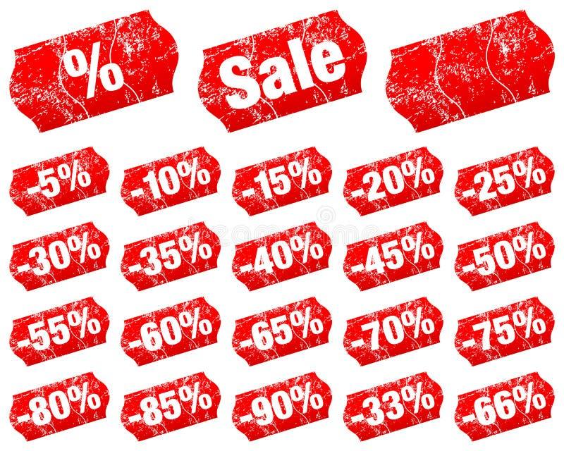 Fije del menos rojo de la venta de precios dividido con los rasguños libre illustration