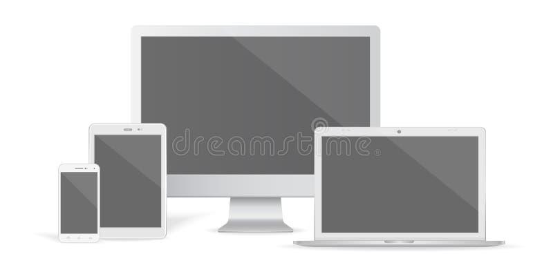 Fije del monitor de computadora, del ordenador portátil, de la tableta y del teléfono realistas del gráfico de vector ilustración del vector