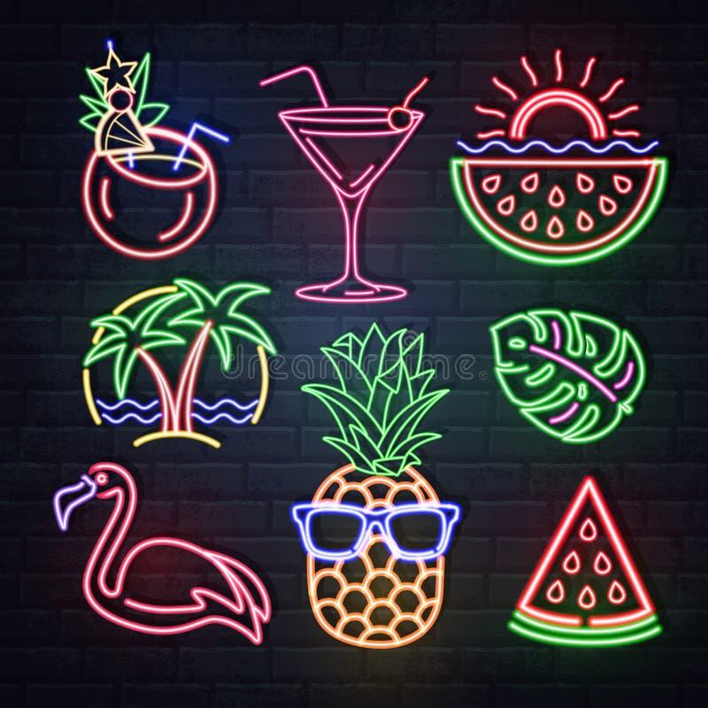Fije del neón del verano canta Iconos aislados de neón Flamenco, piña, cóctel, hojas tropicales, palmas Letrero el?ctrico del vin libre illustration