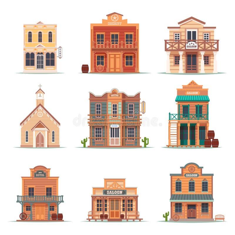 Fije del oeste salvaje aislado, edificio occidental stock de ilustración