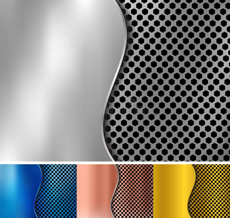 Fije del oro abstracto, cobre, plata, fondo met?lico azul del metal hecho de textura del modelo del hex?gono con hierro de hoja d stock de ilustración