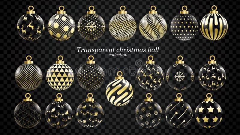 Fije del oro del vector y de las bolas transparentes de la Navidad con los ornamentos decoraciones realistas aisladas colección d stock de ilustración
