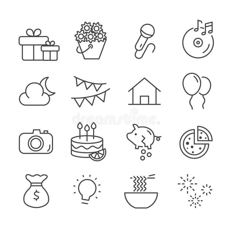 Fije del presupuesto para los iconos de la esta noche del partido El esquema del concepto de la celebración aisló ilustración del vector