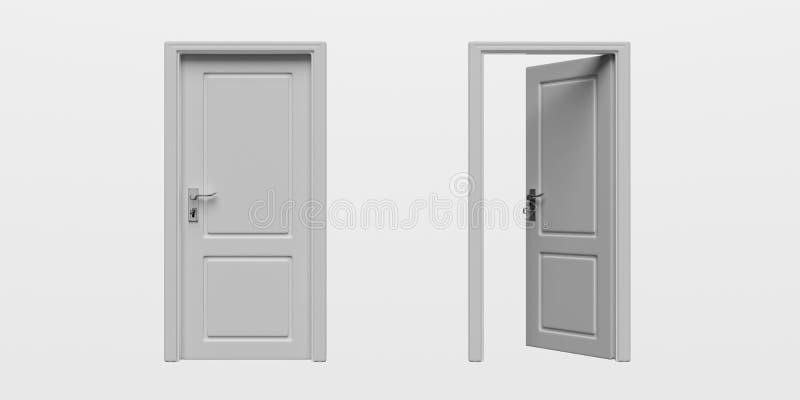 Fije del recorte aislado de las puertas cerradas y abiertas en el fondo blanco ilustración 3D stock de ilustración