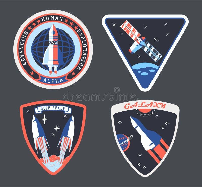 Fije del remiendo aislado del astronauta o del cosmonauta, muestra ilustración del vector
