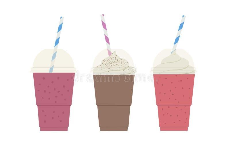 Fije del smoothie y de los batidos de leche de la dieta sana tres, con el chocolate, las bayas, frambuesa, fresa, nata montada ilustración del vector