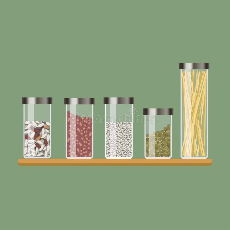 Fije del tarro de la cocina con los cereales libre illustration