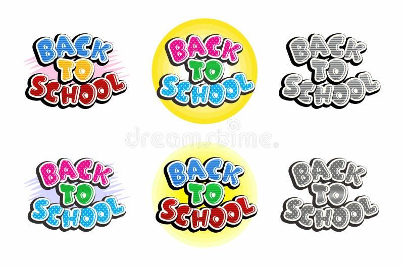 Fije del texto de nuevo a la escuela aislada en el fondo blanco stock de ilustración