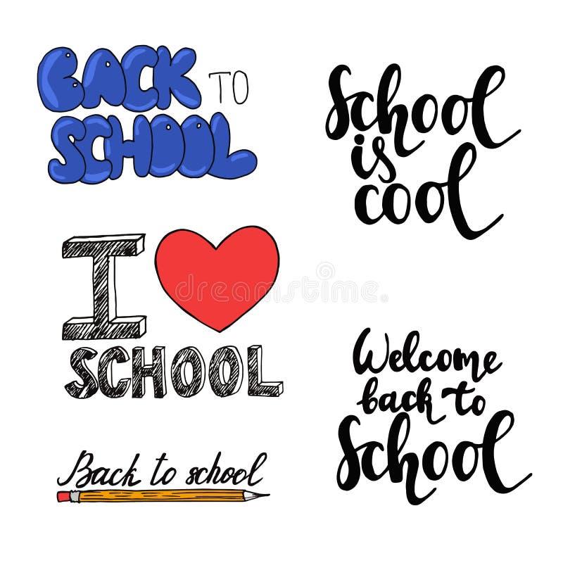 Fije del texto exhausto de la mano de nuevo a la escuela aislada en el fondo blanco libre illustration