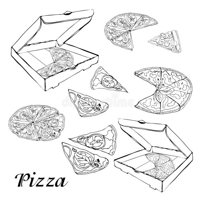Fije del tipo de pizza Bosquejo dibujado mano de la tinta Salchichones, Margarita, seta Perfeccione para los prospectos, tarjetas ilustración del vector