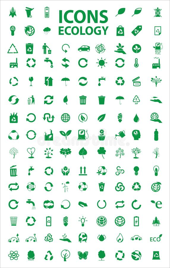 Fije del vector común de los iconos de la ecología fotografía de archivo libre de regalías