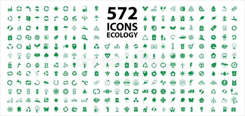 Fije del vector común de los iconos de la ecología imágenes de archivo libres de regalías