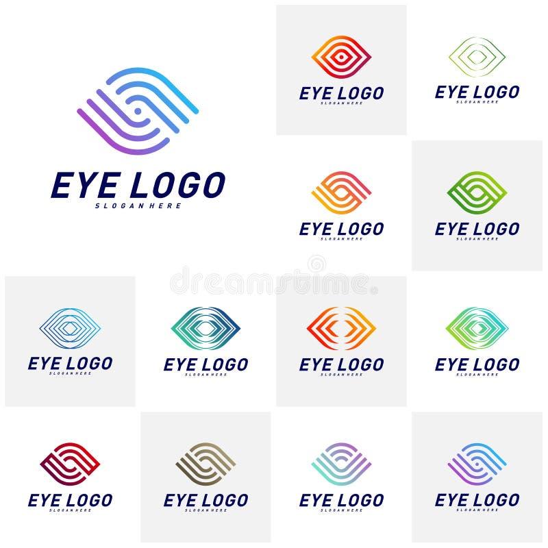 Fije del vector del concepto de diseño del logotipo del ojo, plantilla del logotipo del ojo, símbolo del icono ilustración del vector