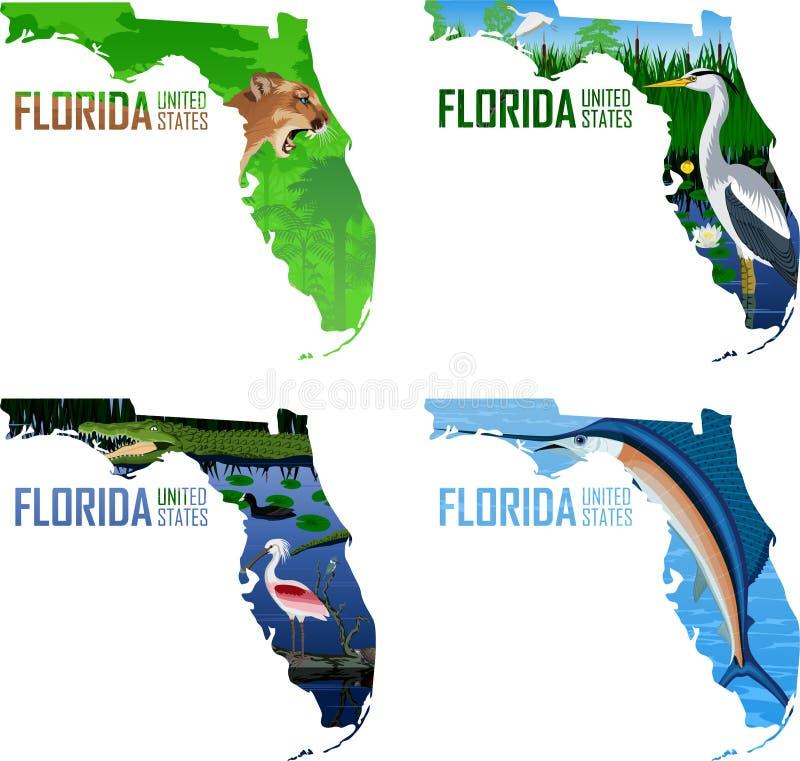 Fije del vector la Florida - mapa del estado americano con el pez volador atlántico de los peces espadas, la gran garza azul, el  stock de ilustración