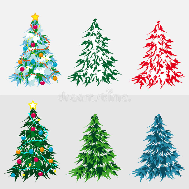 Fije el árbol de navidad ilustración del vector