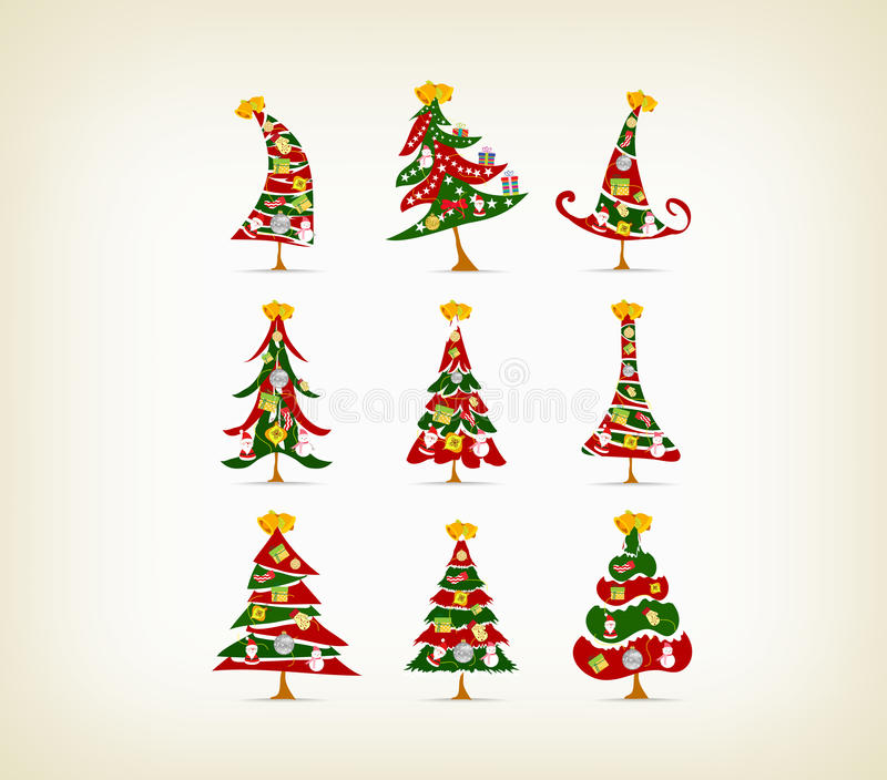 Fije el árbol de navidad del vintage con el icono y el elemento stock de ilustración