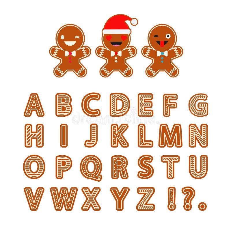 Fije el alfabeto del pan de jengibre Letras del pan de jengibre de la Navidad con el esmalte libre illustration